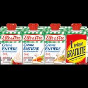 Elle & Vire Crème Uht Entière Stérilisée Uht 30% De Mg Elle & Vire, 3 Briques De 20cl+1 Gratuite
