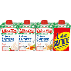 Crème UHT entière stérilisée UHT 30% de MG ELLE & VIRE, 3 briques de 20cl+1 gratuite