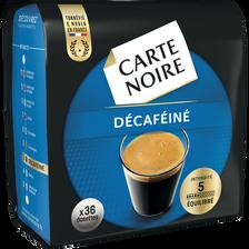 Café en dosettes décaféïné CARTE NOIRE, 36 unités, 250g