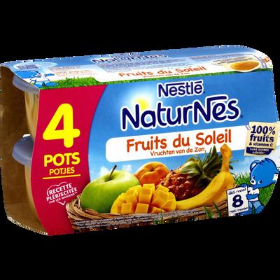 Compote fruits du soleil NATURNES, dès 8 mois, 4x130g