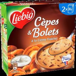 Soupe velouté cèpes et bolets à la crème fraîche LIEBIG, 2 briques de30cl