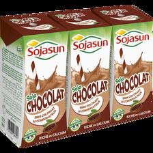 Boisson de soja riche en calcium UHT au chocolat SOJASUN, 3x20cl