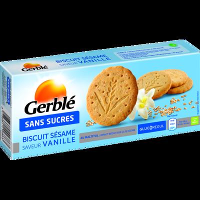 Biscuits au sésame et vanille sans sucre ajouté GERBLE, paquet de 132g