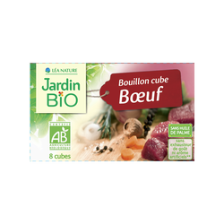 Bouillon cube boeuf sans huile de palme JARDIN BIO,  boite de 8x10 g