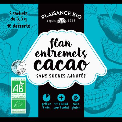Entremets non sucré chocolat bio PLAISANCE BIO, 8x1/4 litre, 44g