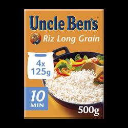 Riz long grain cuisson 10' UNCLE BEN'S, 4x125g