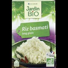 Riz basmati blanc long grain bio et équitable JARDIN BIO,  500g