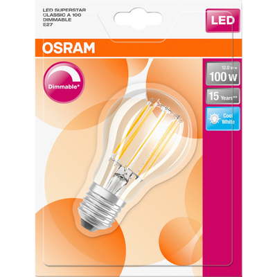 Ampoule led premium OSRAM, ronde, 100W E27, verre filament transparentlumière froide variateura