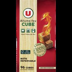 Allume-feu cube 100% d'origine végétale à base de bois et de cire végétale U, x96