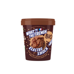 Glace electroshock noisette et cacao sauce chocolat noir bio WHAT THEFRENCH, pot de 284g