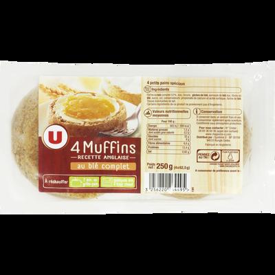 Muffins au blé complet Recette Anglaise U, 4 unités soit 250g
