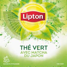 Thé vert avec matcha du Japon LIPTON, 20 sachets pyramide de 30g