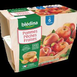 Coupelles fruits pomme pêche fraise BLEDINA, de 6 à 36 mois, 4x100g