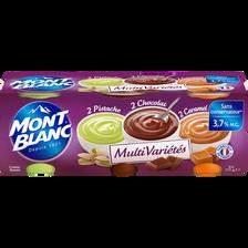 Crème dessert au chocolat caramel pistache MONT BLANC, 6x125g