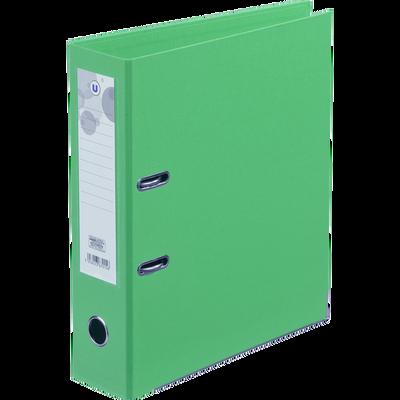 Classeur à levier U, dos 80mm vert clair, porte étiquette soudée, étiquette bord métal, oeillet de préhension, griffe de blocage