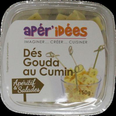Dés de gouda cumin au lait pasteurisé 30% de matière grasse APER'IDEE,barquette de 150g