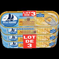 Maquereaux moutarde sans arôme ajoute PETIT NAVIRE, 3x169g