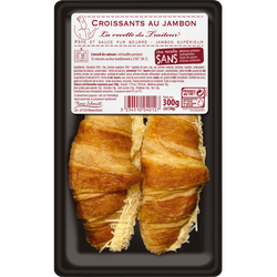 Croissant au jambon royal pâte pur beurre, 2 pièces, 300g