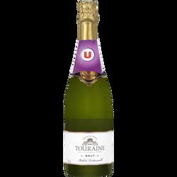 Crémant blanc brut AOP Touraine U, 75cl