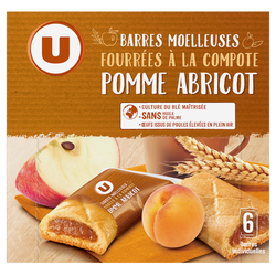 BARRES COMPOTES POMME ABRICOT U, 125g
