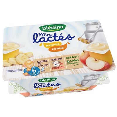 Dessert Mini Lactés bébé banane pomme de 6 à 36 mois, BLEDINA, 6x95G