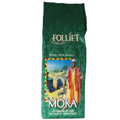 Café moulu moka arabica FOLLIET, paquet 250g