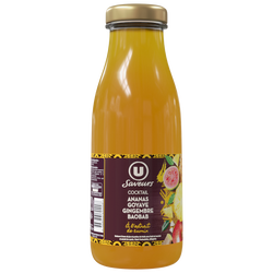 Boisson à base de jus et purée de fruits (mangue, banane, citron vert)réfrigéré U SAVEURS, 75cl