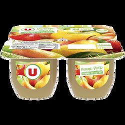 Dessert de fruits pomme/poire allégé en sucre U, 4x100g