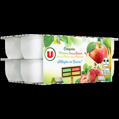 Coupelles pomme fraise poire banane allégée U, 16x100g
