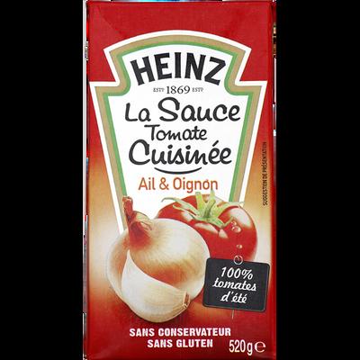 Sauce tomate cuisinée à l'ail et à l'oignon, HEINZ, brique de 520g