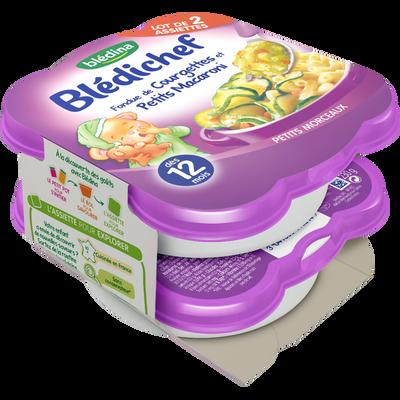Bledichef assiette pour bébé fondue de courgettes et petits macaronisBLEDINA, dès 12 mois, 2x230g