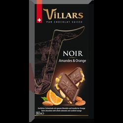 Tablette bloc gourmand noir amande orange VILLARS, 180g