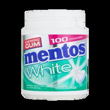 Chewing-gum sans sucre white à la menthe verte MENTOS, boîte de 100 dragées, 150g