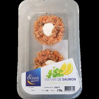 Tartare saumon citron/persil, transformé en France, barquette de 150g