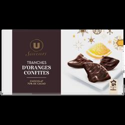 Tranches d'oranges confites enrobées de chocolat noir Saveurs U, ballotin de 200g