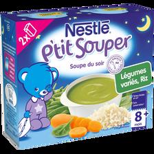 Soupe infantile légumes variés et riz P'tit Souper NESTLE, dès 8 mois,2x250ml