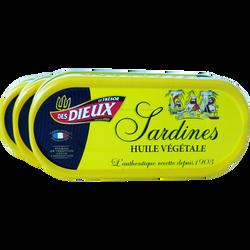 Sardines à l'huile végétale LE TRESOR DES DIEUX, 3 boîtes de 1/15