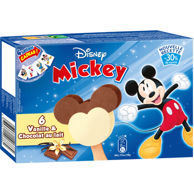 Bâtonnets glacé saveur vanille, chocolat au lait Mickey DISNEY, x6 soit 168g