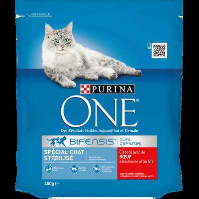 Purina ONE croquettes pour chat adulte stérilisé au boeuf et blé, paquet de 450g