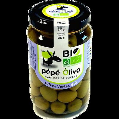 Olives vertes entières bio, PEPE OLIVO bocal de 200g