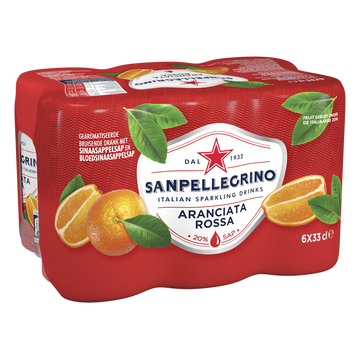 San Pellegrino Boisson Gazeuse Arômatisée Jus D'orange Et Orange Sanguine San Pellegrino, 6x33cl