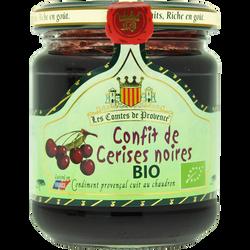 Confit de cerises noires Bio LES COMTES DE PROVENCE, bocal de 250g
