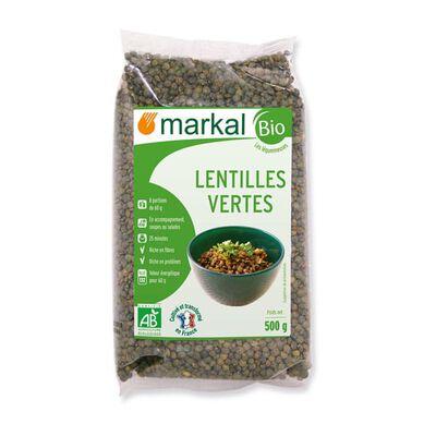 Lentilles vertes BIO, MARKAL, le paquet de 500g