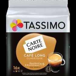 TASSIMO café long classique carte noire, 16 dosettes, 104g