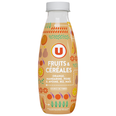 Jus de fruits et céréales à l'orange, mandarine, poire et avoine, riz,maïs, U, bouteille en plastique de 50cl