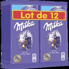 Milka Chocolat Au Lait , 12 Tablettes Soit 1,2kg