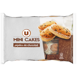 Mini cakes aux pépites de chocolat U, 12 pièces, 450g