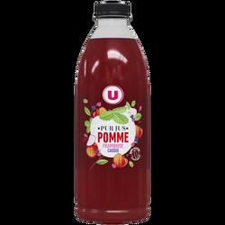 Pur jus pomme framboise cassis flash pasteurisé réfrigéré U, bouteilleen plastique, 1litre