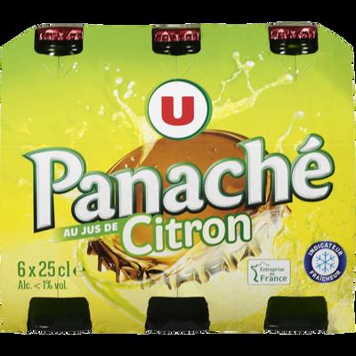 Panaché au jus de citron U, <1°, 6 bouteilles en verre de 25cl