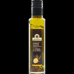 Spécialité à base d'huile d'olive vierge extra 97,7% aromatisée au Citron et au Thym U SAVEURS, 25cl